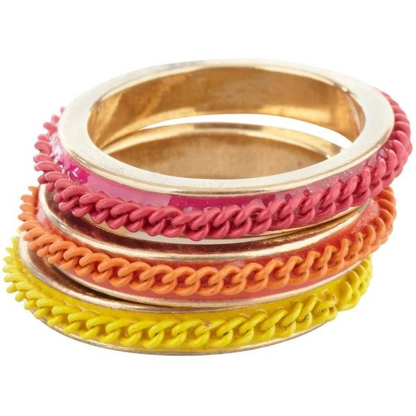 Orange, pink and yellow small ring stack ($4.24) ❤ liked on Polyvore featuring jewelry, rings, bracelets, accessories, pulseiras, women's jewellery, yellow gold jewelry, gold rings, yellow jewelry and pink jewelry