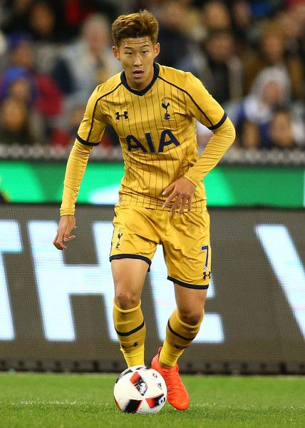 Son Heung-min of Tottenham Hotspur controls the ball during the 2016 International Champions Cup match between Juventus FC and Tottenham Hotspur at Melbourne Cricket Ground on July 26, 2016 in Melbourne, Australia.