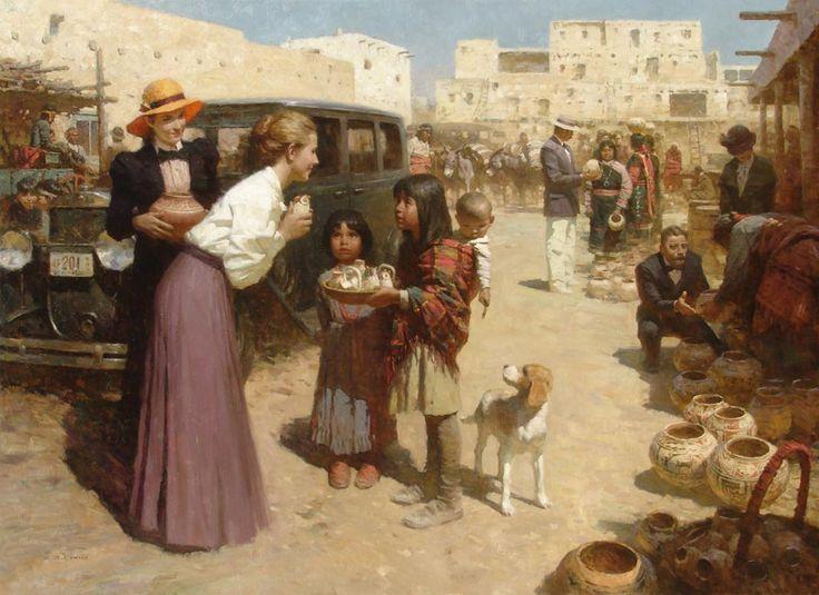 Z.S.Liang (Chinese/American)  'Pueblo Street Market. 1920'