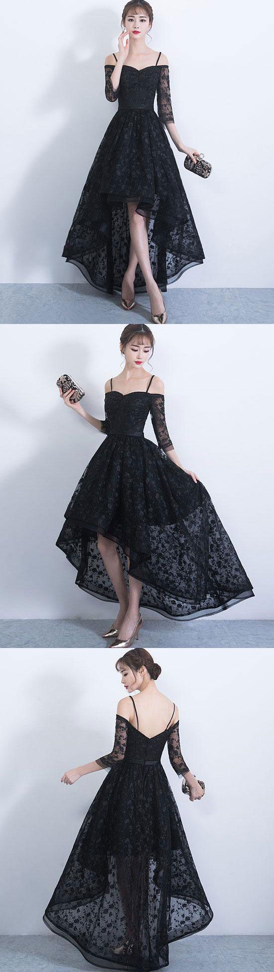 Black sweetheart lace high low prom dress, lace evening dress, lace formal dress for teens