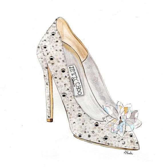 """Cinderella Jimmy Choo - Print - 8""""x10"""" - Various Sizes - Wall Art - Gifts for her - Cinderella - Shoes"""