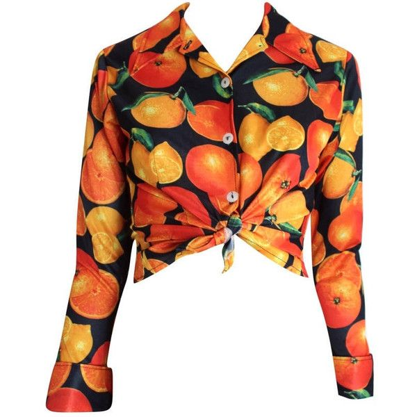 70s Pipeline Orange Fruit Blouse 1970s Fruity Print Long Sleeved Shirt... (140 RON) ❤ liked on Polyvore featuring tops, blouses, white long sleeve shirt, shirt blouse, see through shirt, vintage shirts and collared shirt