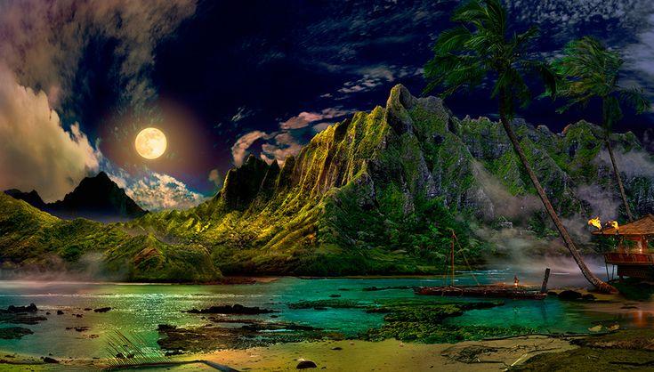 The murmur of the shore / Satoshi Matsuyama  #Satoshi Matsuyama #Hawaii #art #Landscape
