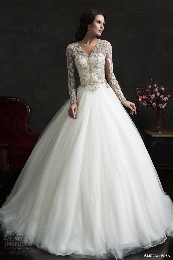 AmeliaSposa 2015 Lace and Tulle Wedding Dress with Long Lace Sleeves