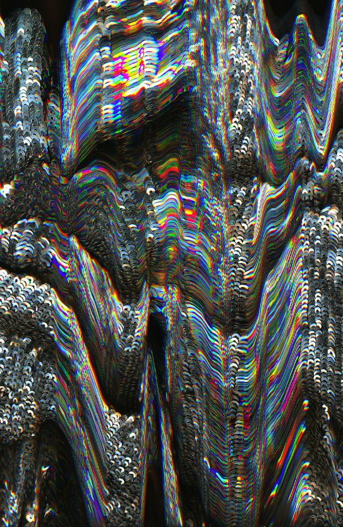 drippy futuristic refracted light rainbow iridescence