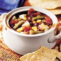 Mexican Minestrone from the slow cooker.. SO easy. dump pantry ingredients in your crockpotand go! serves 12, freezes well too. It's vegetarian.  would be good to serve with mexican type meaty sandwiches, like a pulled beef. YUM