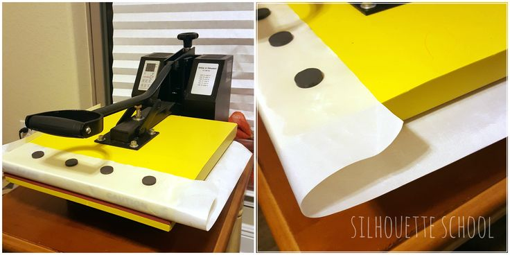 Attach teflon sheet to heat press with magnets by My Paper Craze for Silhouette School