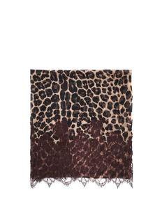 VALENTINOLace panel leopard-print scarf