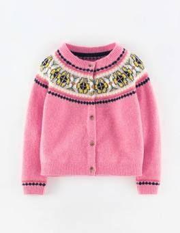 Fair Isle Cardigan (Soft Pink Marl)