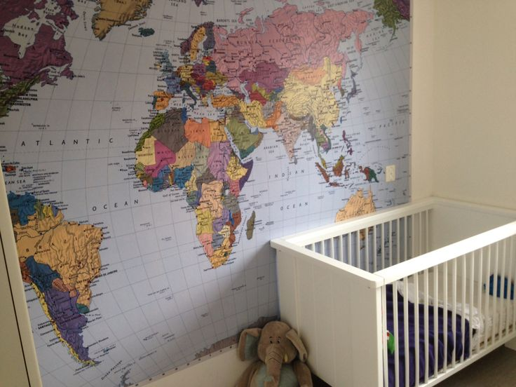 Stoere jongenskamer wereldkaart behang
