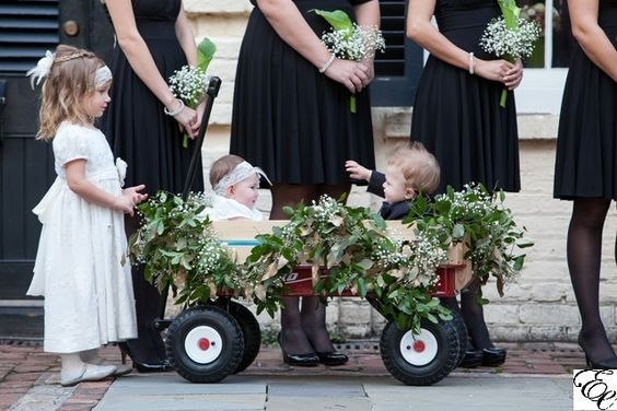 Greenery Garland for wagon | Ring Bearer and Flower Girl Wagon | Green and Black Wedding | Designed by Engaging Events