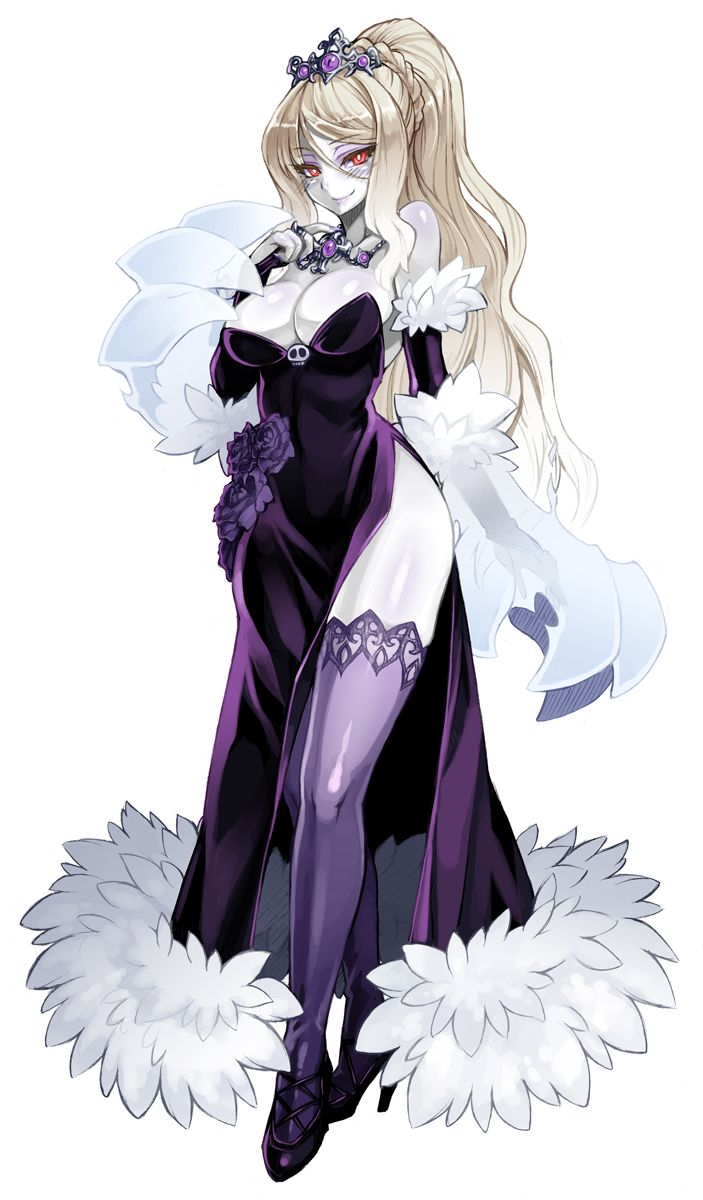 1girl blonde_hair breasts bridal_gauntlets cleavage dress elbow_gloves flower fur gloves high_heels highres jewelry kenkou_cross long_hair looking_at_viewer monster_girl monster_girl_encyclopedia necklace pale_skin payot ponytail red_eyes rose side_slit smile solo strapless_dress thigh-highs wight_(monster_girl_encyclopedia)