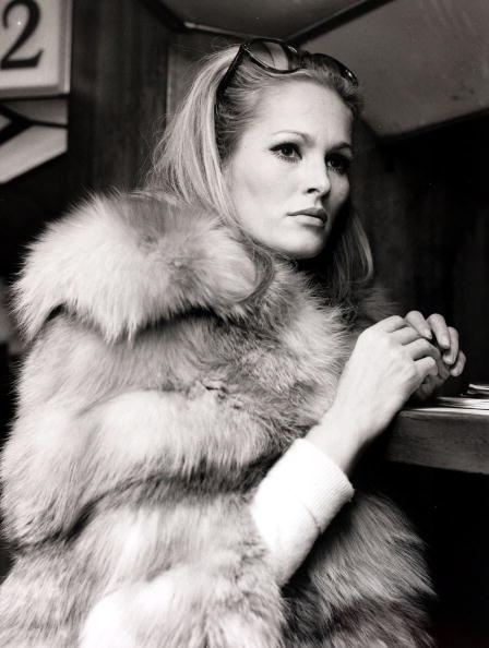 Ursula Andress pictured at Heathrow Airport, London, May 1968