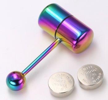 "14g 5/8"" Rainbow Vibrating Tongue Ring Barbell Capsule"