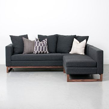 Toss-Back Flip Sectional - Charcoal #westelm wonder if it's comfortable. Love the sculptural modern legs on this sectional.