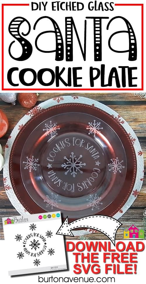 Diy Etched Glass Santa Plate Glass Etching Cookies For Santa