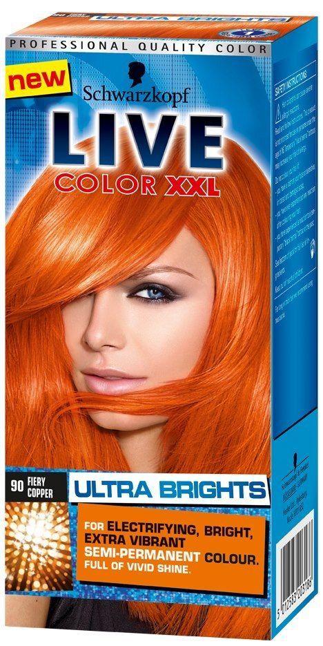 2X Schwarzkopf Live Semi Permanent Color XXL Ultra Brights 90 Fiery Copper