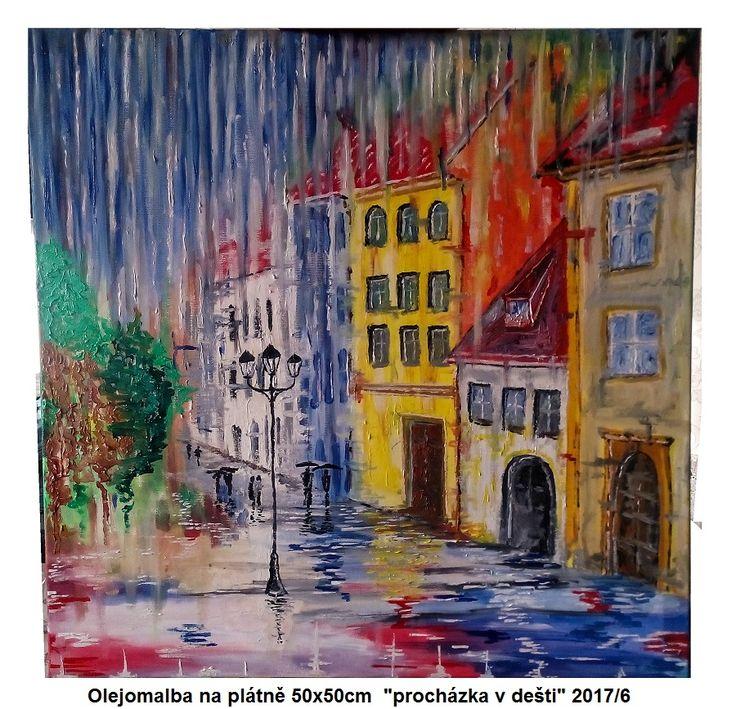 """""""procházka v dešti """" Olejomalba - www.koblihateam.cz"""