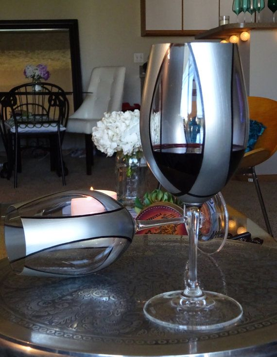 Elegant Silver Plated 2' Riedel Crystal. Hand painted wine