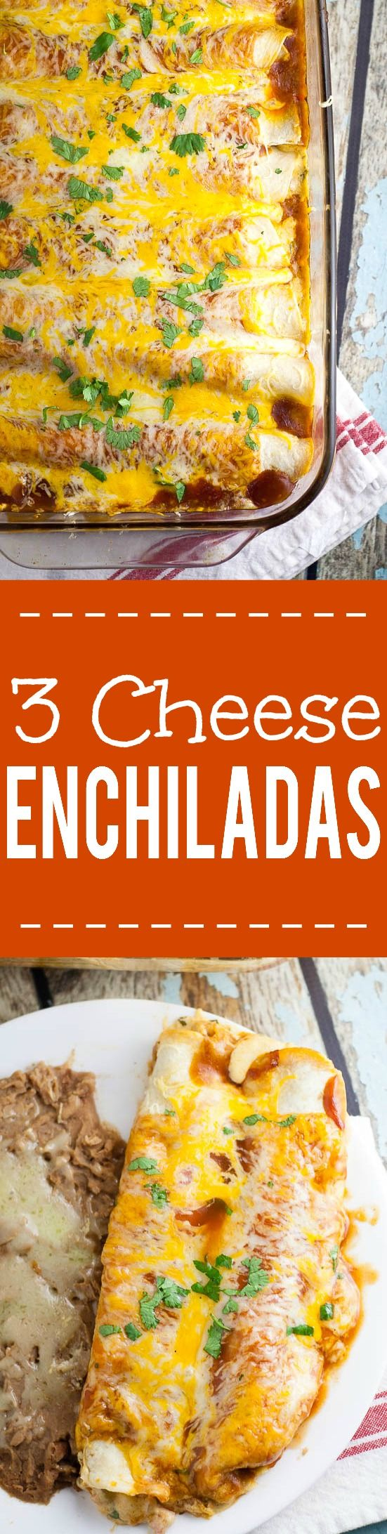 Three Cheese Enchiladas Recipe - Perfect for a meatless Monday vegitarian dinner recipe and a cheese lover's dream, these Three Cheese Enchiladas are filled with cheese, smothered in enchilada sauce, and baked in the oven for a delicious family meal.