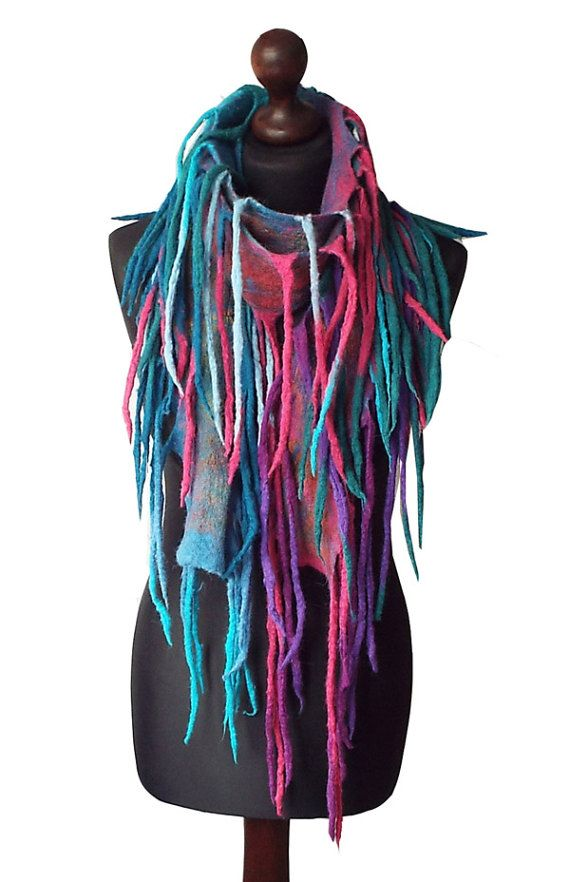 Felted Scarf Boho Felt scarf Felted Necklace Handmade Art to wear Colorful Turquoise Blue Pink Felt Fun Necklace Womens Gift OOAK  Felted scarf/ necklace made from finest Australian merino wool and hand dyed cotton gauze. Colors: multicolor - turquoise, shades of blue, fuchsia, petrol
