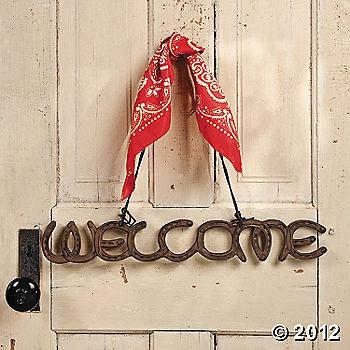 welcome sign western cowboy horseshoe