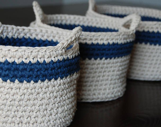 Set of three large crochet baskets, nautical home decor, crochet storage, cotton baskets in jute and navy, boys room organizer, home decor