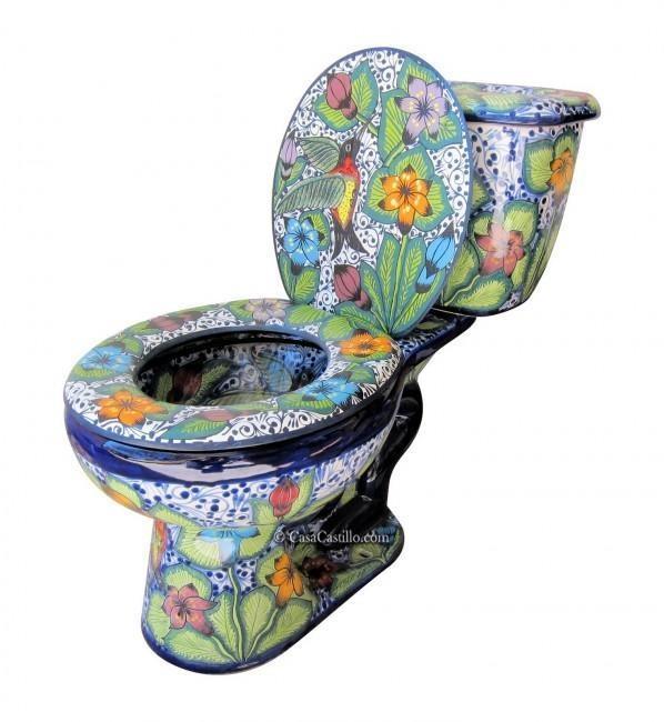 Talavera Toilet Set Hummingbirds - fancy!
