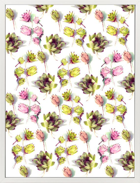 Succulent Pattern Instant Download. A pattern made of various succulent flower heads neatly placed on a neutral background with beautiful daylight and shadows. Tropical décor in decent colors for a modern interior. This pattern will look great when you hang it horizontally or vertically.