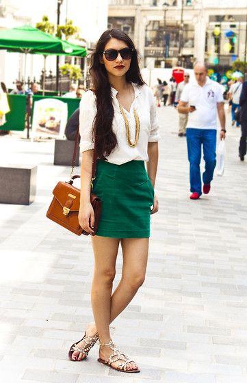 Zara White Shirt, Gold Chain, H Green Skirt, Polo Ralph Lauren Brown Satchel, Office White Stud Sandals