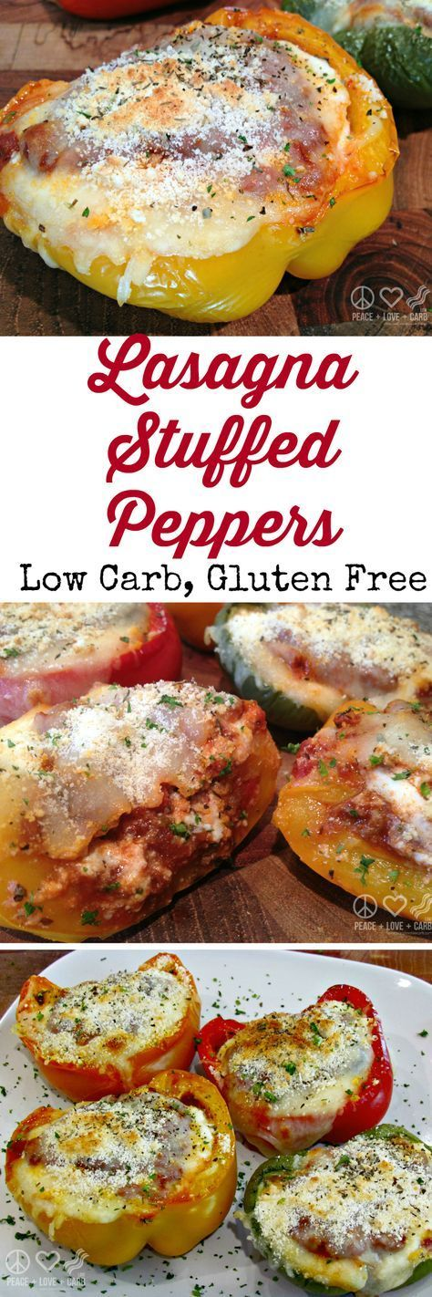 Lasagna Stuffed Peppers - Low Carb, Gluten Free | Peace Love and Low Carb via @PeaceLoveLoCarb