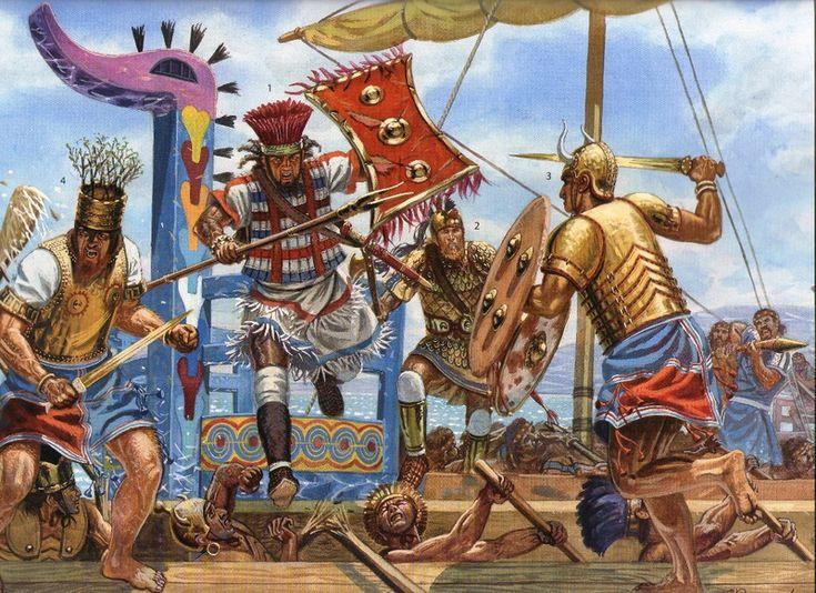 Naval warfare - Clash amongst ships on the Lokris coast. (1-2) warriors from Lokris; (3) Sea People warrior; (4) Ahhiyawa Sea People officer.