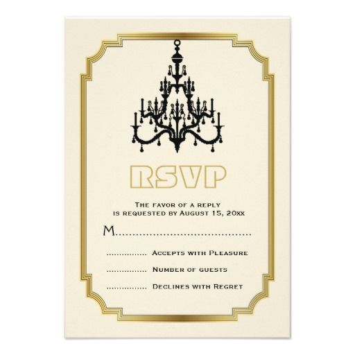 Chandelier and Art Deco border beige vintage look personalized wedding RSVP reply card. #chandelier, #vintage, #RSVP, #replycard, #ArtDeco, #border, #beige, #eggshell, #black, #gold More wedding designs here http://www.zazzle.com/weddings_?rf=238228936251904937=zBookmarklet