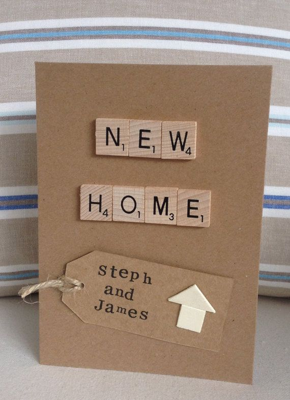 New Home card, wooden scrabble letters spell out New Home the luggage tag can be personalised with your own short message or names, just add a note