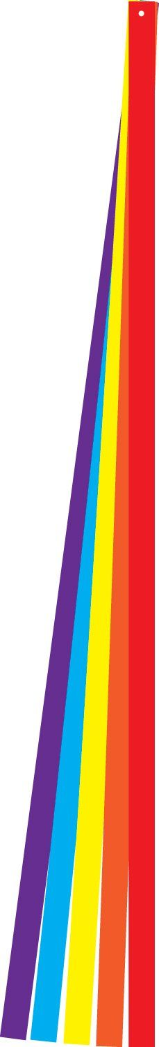 In the Breeze 6 Foot Colorful Kite Tail Set - Five Different Solid Color Tails - Ripstop Fabric. In The Breeze item #2913 - 6-foot Colorful Tail Set is a kite accessory. Use tail set to increase kite flight stability and colorful movement. Kite tails can be used on single line kites and stunt kites. Kite tail sets are made with rip stop polyester fabric. Rip stop polyester is stain, mildew and UV resistant. The tails edges have been treated with heat. This helps prevent them from fraying....