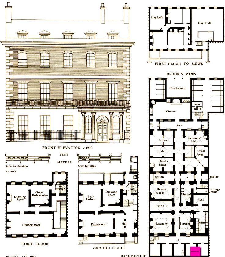 1763 plans of a house in grosvenor street london uk for Regency house plans