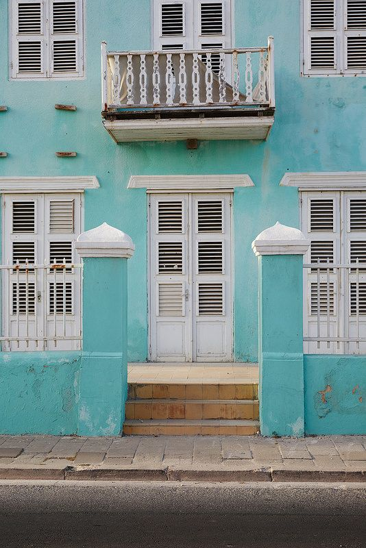 Caribbean blue houses in Curacao