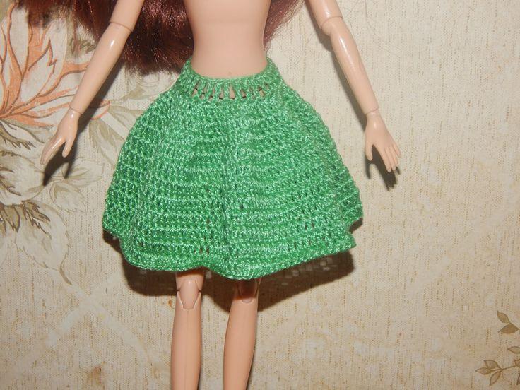 Одежда для кукол крючком. Юбка - Солнце клеш.