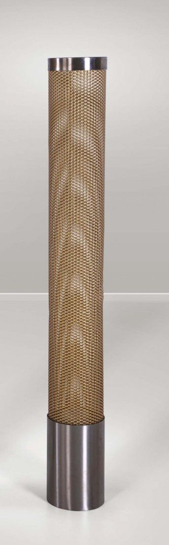 Gio Ponti; Anodized Aluminum and Stainless Steel Floor Lamp for Reggiani, 1974.