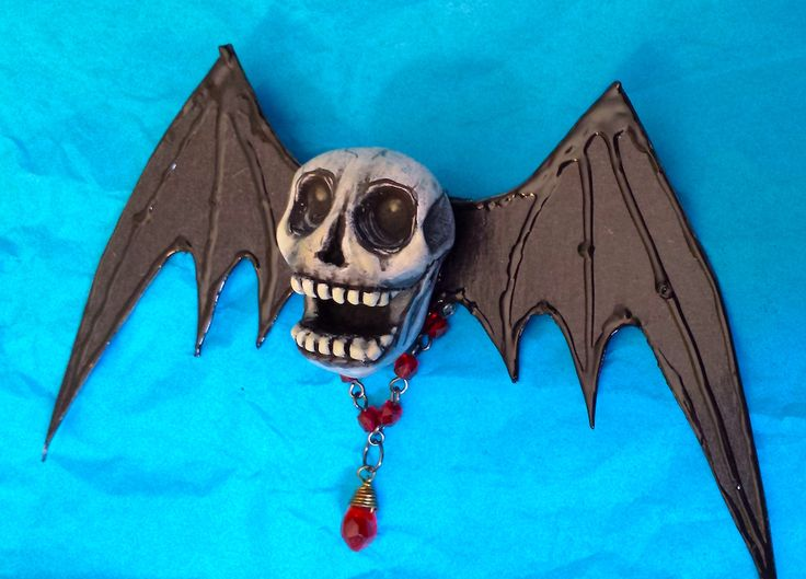 PsychoSkull Blood Drop brooch pin Handmade wearable art - if you dare! Polymer clay skull, with red bead chain and 'blood drop'  Glows in the dark, too! by Ellie Gee ***MacabreWebs Studios*** 2016