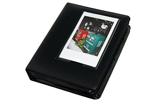 Macaron Buntes Feld PU-Leder-Mini Polaroid Films Buch Fotoalbum für Fujifilm Fuji Instax Sofort mini 7s / 8/25/50/90/70 Black