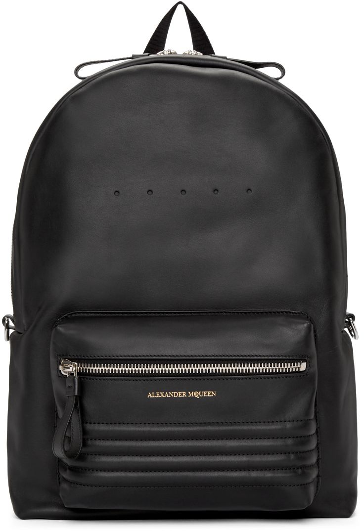 """Alexander McQueen: Black Leather Studded Backpack 