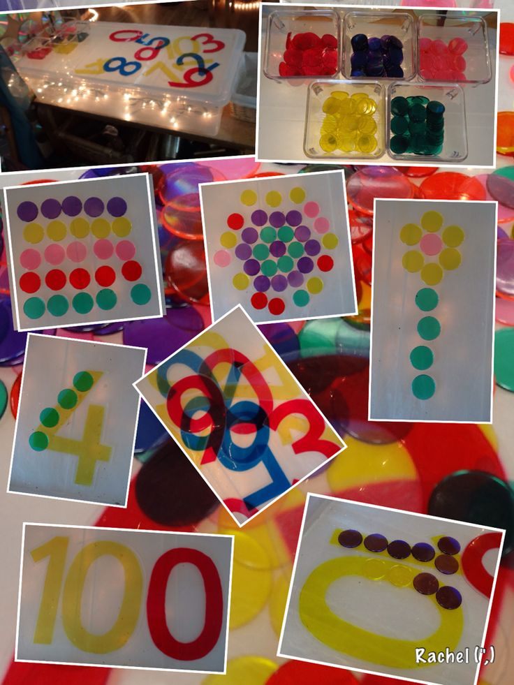 """Laminated cellophane numbers and clear counters on the homemade lightbox… from Rachel ("""",)"""