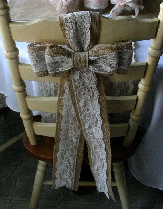 Burlap скамье луки для стульев, мешковина декор свадьбы, потертый шик, шик страны, деревенский шик, французский страны, коттедж шикарные свадьбы,