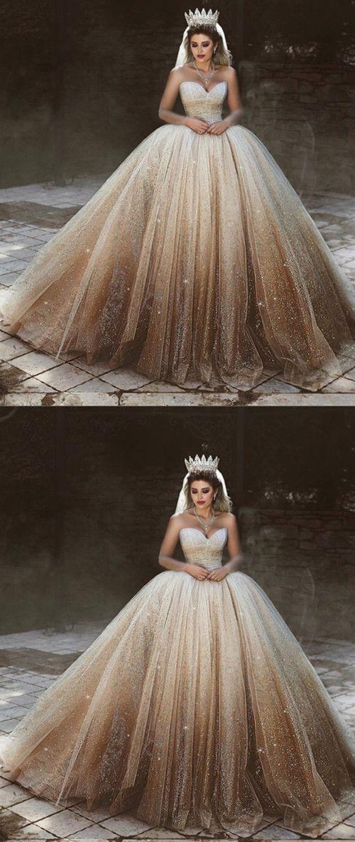 Bling Bling Wedding Dresses Tulle Ball Gowns Sweetheart Bride Dress Fully Sequin…