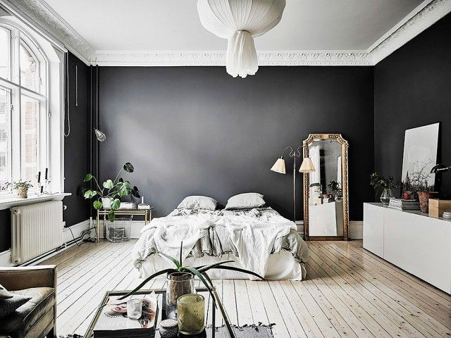 swedish bedroom with dark gray walls and white washed floors. beautiful ideas. Home Design Ideas