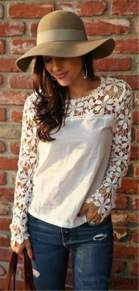 """Features floral lace embroidered design* Material is chiffon* With long sleeve and round neckline* Hand wash cold Sizes: Bust: S-34"""" M-35"""" L-38 XL-41"""