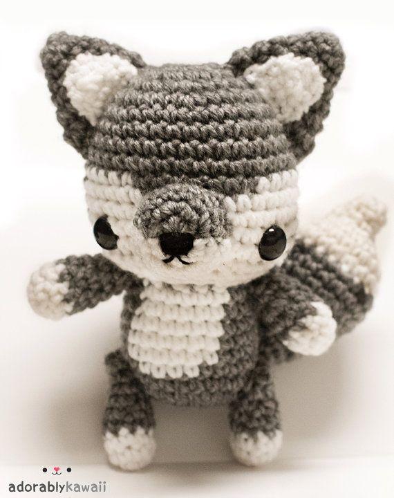Cute Wolf Amigurumi Jointed Poseable Plush Doll by adorablykawaii, $37.00