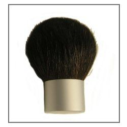 "Kabuki Brush (Pina 5) by MakingCosmetics Inc.. $11.75. Silver Kabuki Buffer. Description: Full density and full bodied round kabuki. The hair is a black and brown silky goat. Handle silver aluminum. 1"" diameter and 2.25 inches high. Use: For applying face powders, loose blush and mineral makeup."
