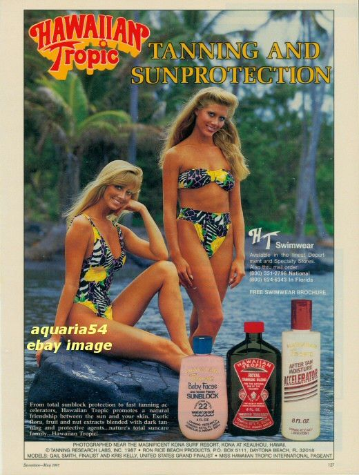 1987 Vintage Hawaiian Tropic Sun Tan Lotion Tanning Swimwear Blonde Models AD    eBay